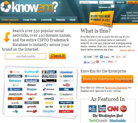 Knowem Herramienta de brading digital Marketizable
