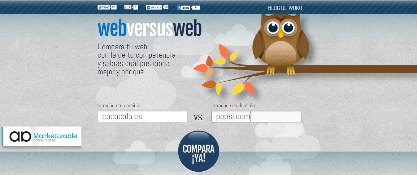 Herramienta Comparador del posicionamiento seo de dos páginas webs.