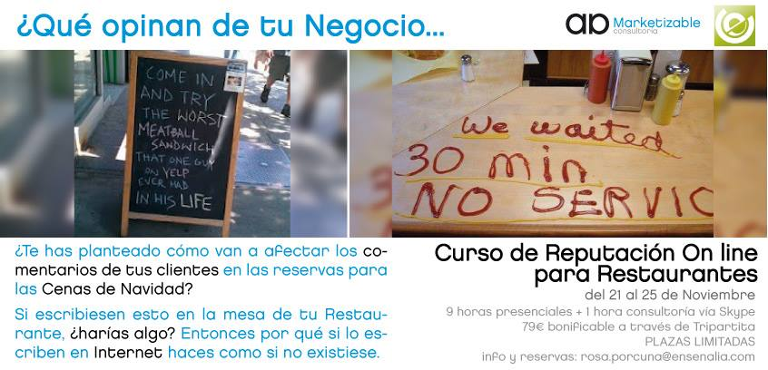Gestión reputación on line restaurantes marketizable