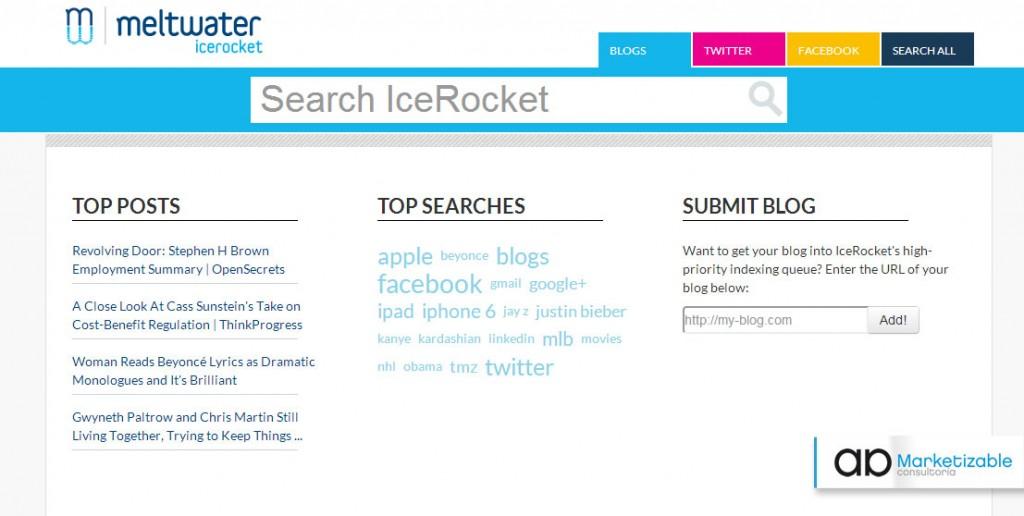 Herramientas gestión reputación on line  recomendadas por Marketizable Icerocket